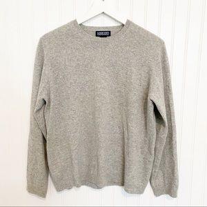 LANDS END 100% cashmere long sleeve crewneck sweater grey gray medium 10-12 P